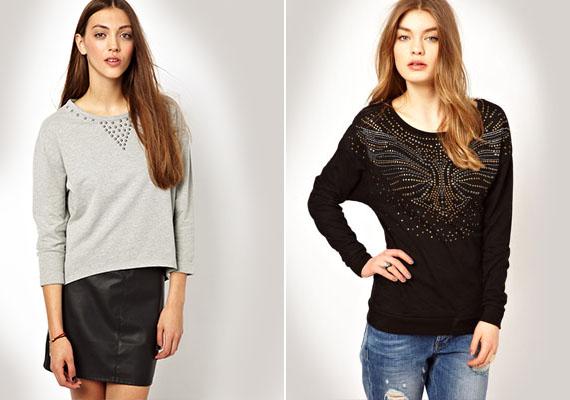 Nemcsak a flitteres, hanem a szegecsekkel mintázott pulóverek is nagyon divatosak idén ősszel.