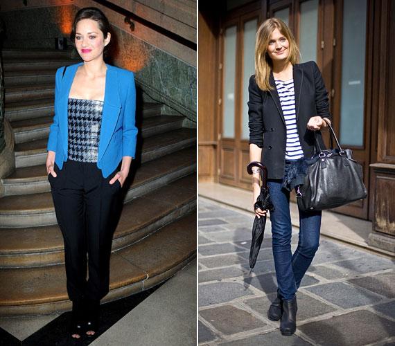 A francia divat, legalábbis az utcai, az egyszerűségre törekszik, megvannak azok az alapdarabok, amelyekhez a nők mindig nyúlhatnak, ilyen egy jó blézer. Marion Cotillard égszínkékben viseli.