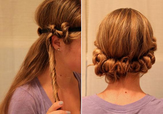 Egy gumiszalaggal is csodákat tehetsz, ráadásul még frizurának is beillik a feltekert haj. A szalag vagy hajpánt ne legyen túl szoros. A nedves hajból fogj egy vékonyabb tincset, tekerd meg, majd tekerd fel óvatosan a szalagra. Fújj rá valamilyen fixálót, száradás után bontsd csak ki, és ott lesznek a hullámok.