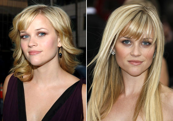 Ha az arcod szív alakú, mint Reese Witherspoonnak, ideális az oldalra fésült, szemöldökig érő frufru, és a nyak körüli hullámos, tépett tincsek is nőiesebbé teszik az arcodat.