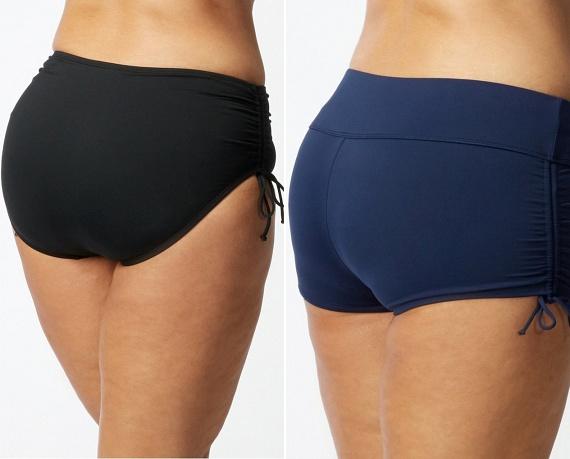 Ha bikinit választasz, az alsónál mindig figyelj oda a szabásra. Az ívelt, combnál felfelé kerekedő darabok nyújtják a lábat és gömbölyűbbé teszik a feneket, míg az egyenes, franciabugyira emlékeztető fazon szélesíti a csípőt a hashoz képest, és elfedi a narancsbőrt.