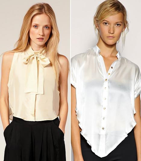 Kacér, rövid fazonok  A nyolcvanas évek haspólóit vették alapul a tervezők, amikor megálmodták az elegánsabb kivitelezésű, épp csak derékig érő szaténblúzokat. Mivel nem kell behúzni a nadrágba, sokkal játékosabb és lezserebb szetteket valósíthatsz meg velük. Remekül mutatnak répafazonú gatyókkal, de a kevésbé buggyos, pizsamaszerű nadrágokat is nőiesebbé teheted velük. Szűk szoknyával pedig elegáns, letisztult hatást keltenek.