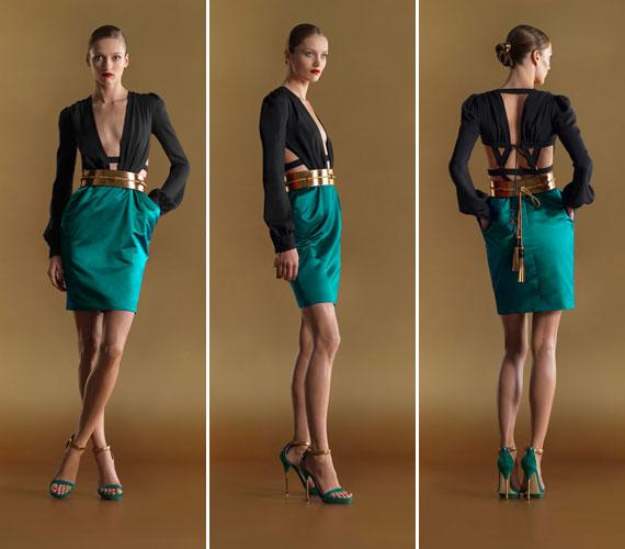 Elegáns, extravagáns szabás a Guccitól. Csak akkor dönts egy ilyen ruha mellett, ha lapos a hasad és nincs telt kebled.