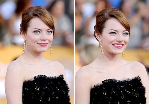 Emma Stone sminkjének alapját a műszempillák képezik, amelyek egész este fent maradnak, így a smink legfőbb pontja stabil.