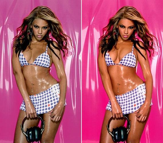 Ez ugyan egy régebbi kép Beyoncéról, de jól látszik, hogy egy minimális hibát sem toleráltak, nem gyűrődhet a bőr a csípő felett. Mintha gumiból lennénk.