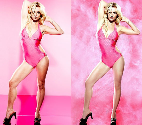 Britney Spears híres fotóján remekül látszik, hogy vékonyítanak tovább egy normális nőn, és hogy tüntetik el a bőr egyenetlenségeit.
