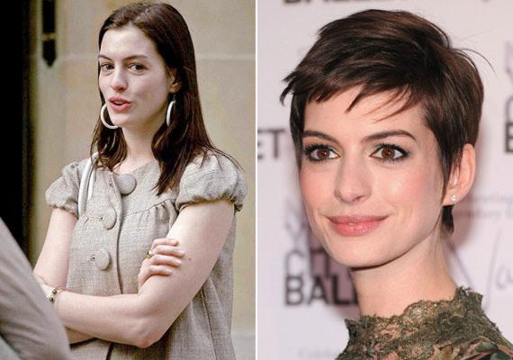 Anne Hathaway sminkese ügyesen hangsúlyozza a színésznő hatalmas őzikeszemeit, amelyek natúran kicsit táskásak.