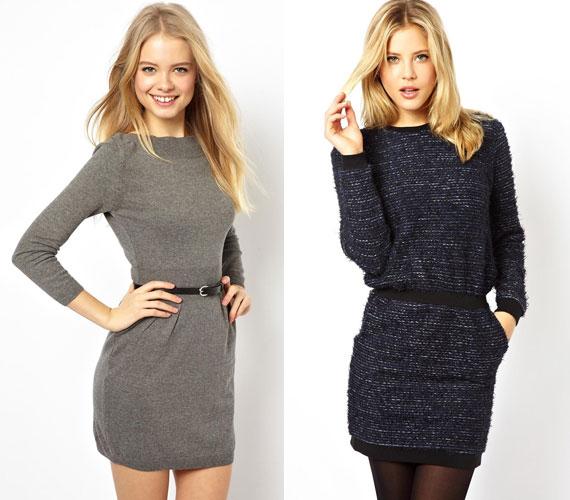 A pulóvernek és ruhának is beillő, derékban húzott darabok nagyon nőiesek.