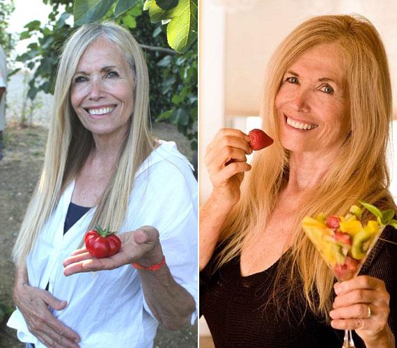 Mimi Kirk 77 éves, a vegán, szinte nyers étrendre esküszik. Ő is sokat jógázik.