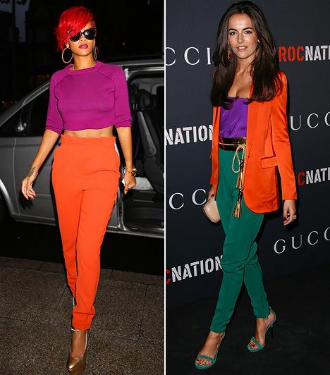 Lesd el a sztároktól!  Rihanna már tapasztaltnak számít a colour blocking trend világában, hiszen ő kezdett el leghamarabb ráérezni a sztárok közül. Így nem meglepő, hogy remek ízléssel nyúlt a narancshoz és a lilához, melyek kölcsönösen felerősítik egymás dominanciáját, mégsem vesznek össze az uralkodó pozíción. Külön plusz pont jár azért, hogy az élénkvörös hajszíne hibátlanul beleillik az összképbe. A vöröset te is belecsempészheted a szettedbe egy öv vagy cipellő formájában. Camilla Belle öltözéke már ismerős lehet neked a Gucci kifutójáról. Itt egy érzékibb lila sejlik fel a narancs keretezésében, melyhez smaragdzöldet rendelt a divatház tervezője. Rendkívül kifinomult összeállítás.