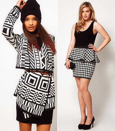 Fekete-fehér minták  Játékos, vagány és nőies stílusverziókat valósíthatsz meg a most divatos fekete-fehér mintákkal. Ám nem árt az óvatosság, mert a szemkápráztató geometrikus és tyúklábminták erősen szélesítenek. Az előbbiek vagány és retró verzióban mutatnak jól, az utóbbiak pedig elegánssá teszik a letisztult öltözéket.