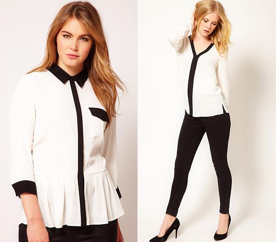 A vagány, nőies elegancia fokozására, illetve a sziluett megnyújtására kitűnően alkalmasak a hosszában, fekete sávval megosztott ingek.