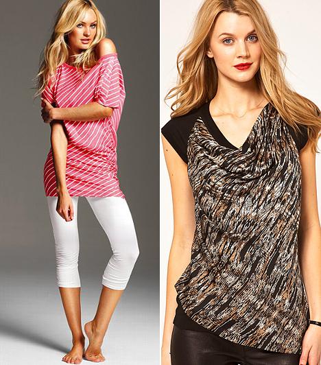 Átlós minták  A most divatos vízszintes tengerészcsíkok abszolút előnytelenek számodra. Ezekről muszáj lemondanod, de az átlós mintákat bátran viselheted. Ha a pólód nyakrésze vagy alja aszimmetrikusan szabott, biztos lehetsz benne, hogy nem kerül előtérbe a széles vállad. A sálesésű nyakkivágás rendkívül nőies, és a mellek felé vonzza a tekintetet. Még jobb, ha az ujjak egyszínűek és a szabásvonaluk a nyak felé irányul.
