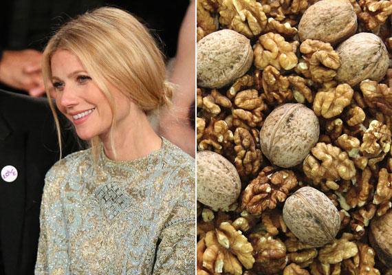 Gwyneth Paltrow igazi életmódgurunak számít a tengerentúlon. Tippje szerint dobjuk fel a nem túl egészséges vagy hizlaló ételeket valami jótékony hatásúval. Ő a dióra esküszik, hiszen tele van értékes ásványi olajokkal és zsírsavakkal.