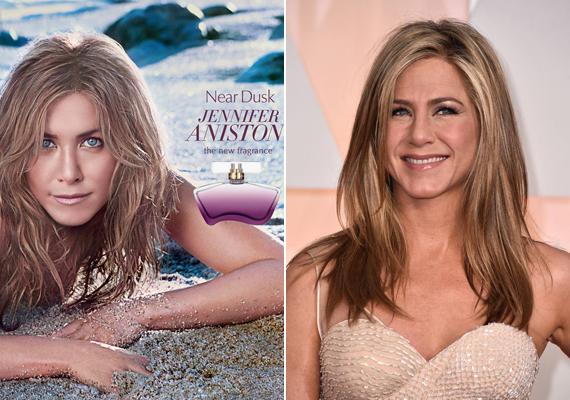 Jennifer Aniston parfümje, a Near Dusk hirdetésén és a valóságban. A színésznőre rá sem ismerni a reklámanyagon.