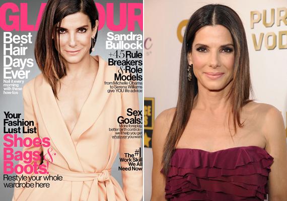 Sandra Bullock a People magazin szerint a világ legszebb nője, ez a Glamour-címlapja azonban nem sikerült túl jól. Öreges és kissé férfias is rajta.