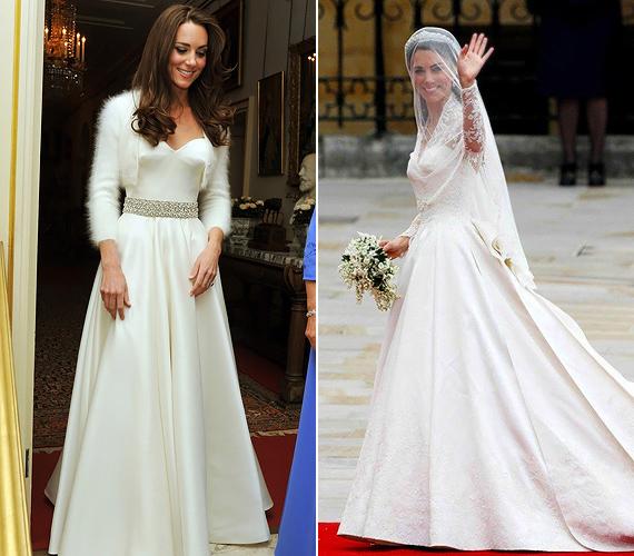 Kate elefántcsont és fehér színű menyasszonyi ruhája szinte azonnal ikonikus darabbá vált, akárcsak az a gyémántöves kreáció, amit az esti mulatságon viselt.                         Fotók: Chris Jackson/Getty Images, Ibtimes.com, Socialitelife.com.