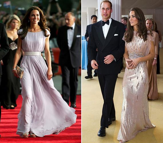 Kate Middleton törékeny alakján a lágy esésű, A-vonalú estélyi ruha és a fényes, kihívóbb fazon is jól mutat.