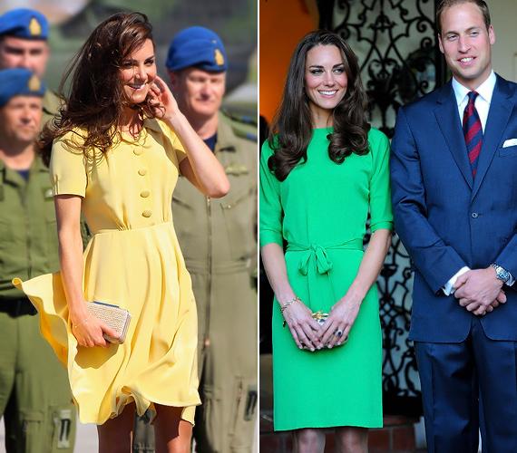 A finom stílusban éppen úgy helyet kaphatnak a merész színek: az ötvenes évek hangulatát idéző lenge sárga ruhában, valamint a zöld selyem Diane von Fürstenberg kreációban is elragadóan bájos Katalin hercegnő.