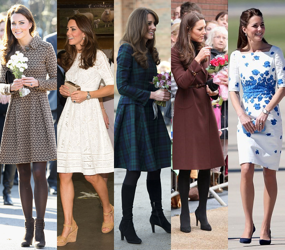 """Kate cipői voltak talán az első kiegészítők, amelyek a sajtóban elindították a sokszor hallott """"a hercegnők is olyanok, mint mi!"""" felkiáltásokat. Mindez annak köszönhető, hogy Kate józanul és praktikusan megválasztott cipőit nem szégyelli egynél többször is felvenni. Évekkel később, még most is láthatjuk, melyek a kedvenc lábbelik: azok a csizmák, magassarkúak és félcipők, amelyek többször is előkerülnek."""