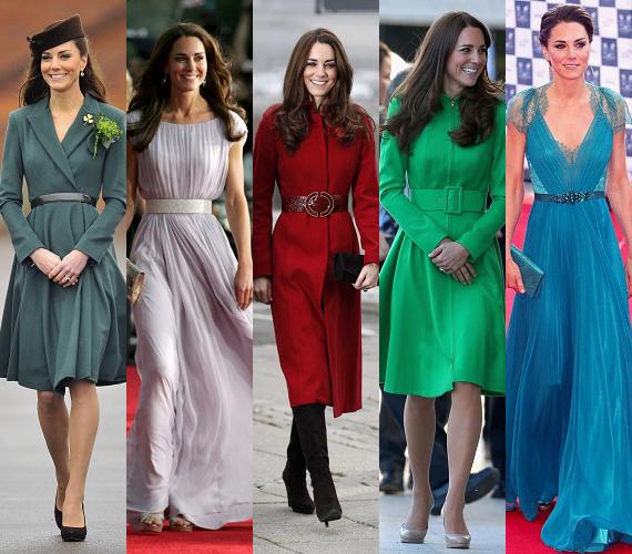 Jobban megnézve ezeket a ruhákat, Kate Middleton stílusához nemcsak az öves kabátok tartoznak hozzá, de az öv maga is. A derékkörnyéki szűkítés itt sem maradhat el, amely elegánsan kiemeli Kate alakját, a hétköznapi egyberuháktól az alkalmi öltözetekig mindenhol.
