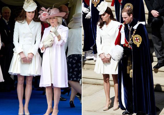 Az Alexander McQueen által tervezett fehér kabátban a Térdszalagrend ceremóniáján jelent meg.