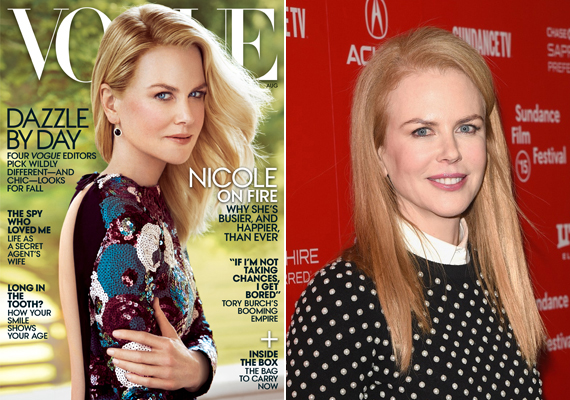 Nicole Kidman borítója sem sikerült jobban. A Photoshop miatt a színésznő feje aránytalanná vált.
