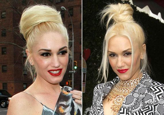 A fejtetőn csoportosuló haj különösen dizájnos, nem véletlen, hogy a feltűnő stílusáról ismert Gwen Stefanie is ezt választotta.