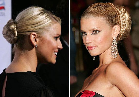 Jessica Simpson a fonott konty híve. Nem kell mást tenned, mint befonva feltekerned a hajad, vagy egy kiválasztott tinccsel felkötnöd.