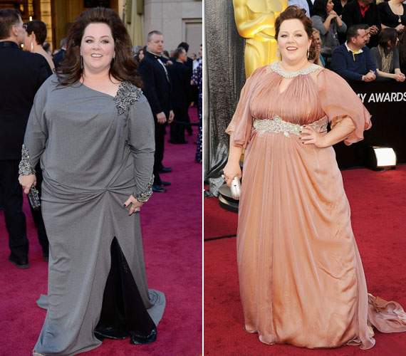 Melissa McCarthy Oscar-díjra jelölt színésznő nem kívánja megvitatni a súlyát, erről ennyit mond, hogy akkora, amekkora. Viszont kikelt már az ellen, hogy a méretében nem lehet normális ruhákat kapni.Két kislány boldog anyukája, itthon legtöbben valószínűleg a Szívek szállodájából ismerik, ahol szerencsére nem volt téma a történetben sem a súlya.
