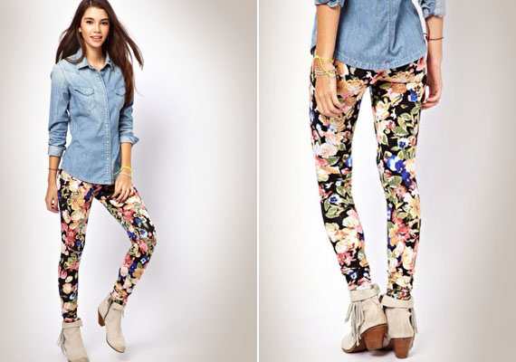 A virágos leggingsek és nadrágok optikailag szélesítenek, ezért jobb, ha nem veszel fel ilyen mintájúakat. Ha nagyon tetszik, vegyél olyat, ami apró virágmintás, az egy fokkal kevésbé nagyít.