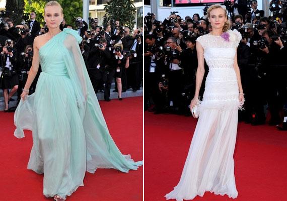 Diane Kruger cannes-i filmfesztiválon viselt ruhái - a mentaszínű egy Giambattista Valli, a fehér pedig egy Nina Ricci darab - minden bizonnyal szerepet játszottak abban, hogy a színésznő a listára került.
