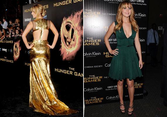 Ki ne emlékezne Jennifer Lawrence aranyló Prabal Gurung ruhájára, amit az Éhezők viadala premierjén viselt? Teltkarcsú alakján a Calvin Klein koktélruha is remekül mutat.