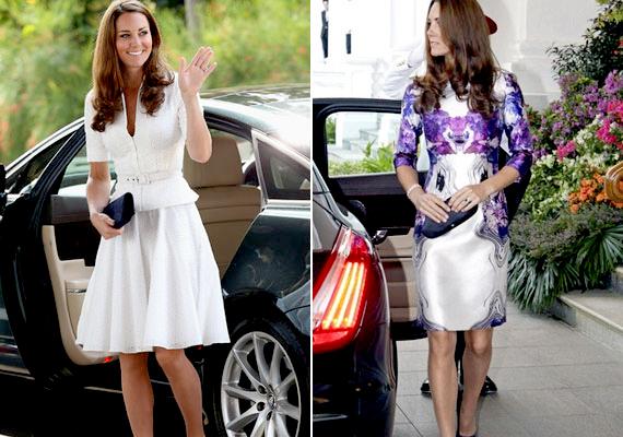 A második helyen a britek büszkesége, Kate Middleton végzett - a képen fehér Alexander McQueen és nyomott mintás Prabal Gurung ruhát visel.