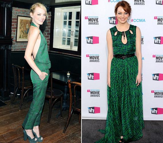 Emma Stone dögös vörösből változott túl vékony szőkére, reméljük, hamarosan visszatalál régi önmagához. A zöld mindenképpen jól áll neki.