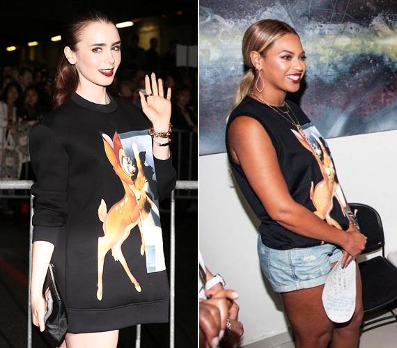 Lily Collins és Beyoncé is úgy döntött, a szomorú sorsú Bambit választják felsőjük díszítéseként.
