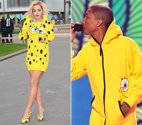 Rita Ora és Pharell Williams is nagy Spongyabob-rajongó a képek tanúsága szerint. Rita Ora ruháját a Moschino tervezte.