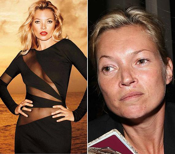 Az alakját nézve Kate Moss ma is felveheti a versenyt a nála fiatalabb, friss modellekkel. Ám smink nélkül az arca már korántsem olyan üde, mint a Harper's magazinban nemrég megjelent, retusált képeken.