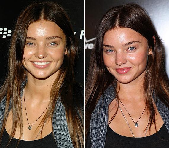 Miranda bőre azonban smink nélkül is gyönyörű és sugárzó, leszámítva az izzadt, fénylő foltokat, melyek valószínűleg az erős vakufénynek köszönhetőek.