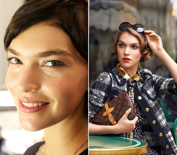 A Vogue kedvenc modellje, Arizona Muse egyszerűen elragadó a Louis Vuitton 2012-es kampányában, ahogy máskor is. Retusálatlanul, smink nélkül éppoly bájos, de látszik, hogy van egy kis kiszőkített bajuszkája.
