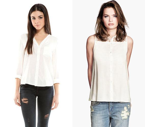 A fehér blúz az, ami nem hiányozhat egyetlen nő ruhatárából sem. A fazonban pedig már csak a képzelet és az éppen aktuális divat szab határt. A bal oldali csinos, bőrhatású zsebbel ellátott blúzt a Bershkától 3495 forintért vásárolhatod meg, a jobb oldali ujjatlan ingblúzt csipkevállakkal a H&M-ben találod 3490 forintért.