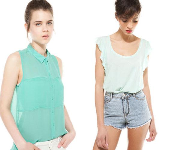 Idén a lehető legtöbb szín és mintázat megtalálható a boltokban. Ezek közül a friss menta mindenképpen jó választás lehet, ingben és laza pólóban egyaránt. A bevállalós, hosszított aljú, ujjatlan ing 3995 forint, a fodros vállú, lenge póló 3595 forint a Bershkában.