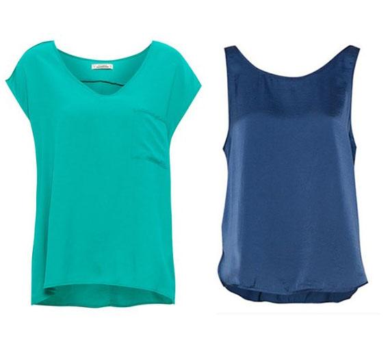 A Pull & Bear üzleteiben 2014-ben jellemzőek a bő fazonú, egyszerűen elegáns darabok. Az ehhez hasonló felsőket bátran hordhatod akkor is, ha van rajtad egy kis felesleg. Azonban igazán akkor lehet izgalmas a szetted, ha kék vagy türkiz mellett döntesz. A zsebes póló és a sötétkék fényes anyagú top is a tiéd lehet, csak 3595 forintba kerül.