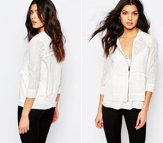 Az áttört fehér dzseki romantikus, de majd egy picit később lesz praktikus, amikor inkább kiegészítőnek használod a kabátot, nem pedig azért, hogy melegítsen.