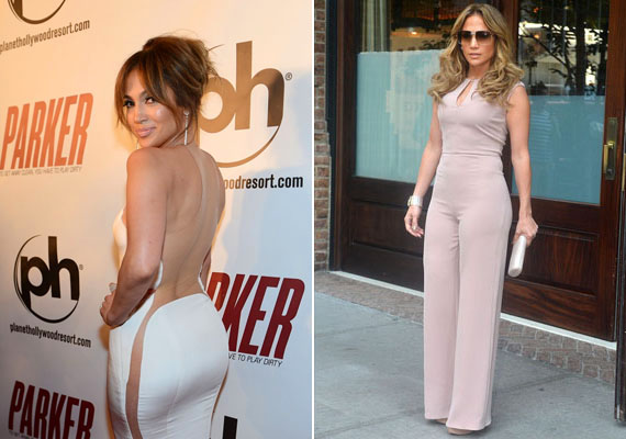 Jennifer Lopez legendás méretű popsijára a legbüszkébb, és nem is hiába, hiszen páratlanul gömbölyű karosszériája igazi csemege a férfiszemeknek.