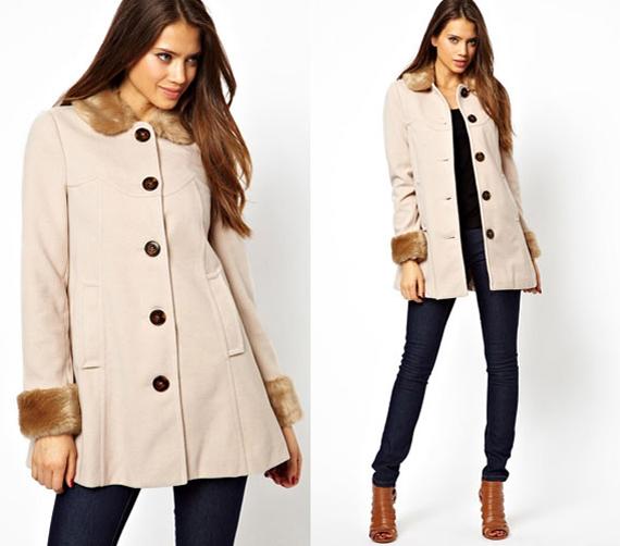 Klasszikus A-vonalú kabát szőrmebetéttel, nem csak rózsaszínben nőies. Figyelj arra, hogy a szőrme jó minőségű műszőrme legyen.