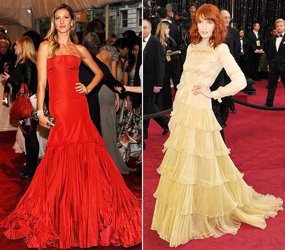 Gisele Bündchen egy tüzes Alexander McQueen estélyit, Florenche Welch pedig egy vaníliasárga Valentino Couture kreációt választott a vörös szőnyegre.