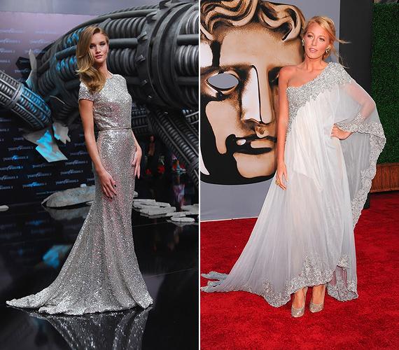 Csillogó elegancia: Rosie Huntington-Whiteley egy metálfényű Naeem Khan ruhával, Blake Lively pedig egy légies Marchesa kreációval érdemelte ki a Vogue stíluselismerését.