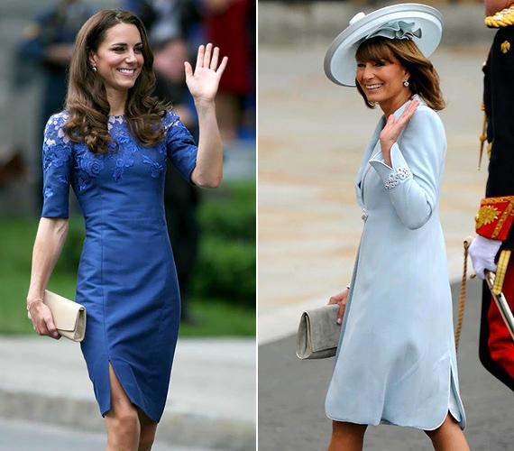 Anya és lánya kékben: Kate Middleton csipkés Erdem ruhája és Carole Middleton Catherine Walker zakóruhája a klasszikus eleganciát képviseli.