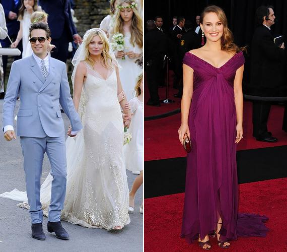A várandós hírességek is helyet kaptak a listán. Kate Moss gyönyörű esküvői ruháját John Galliano tervezte, Natalie Portman elegáns, pocakra szabott ruhája pedig a Rodarte finom stílusát dicséri.